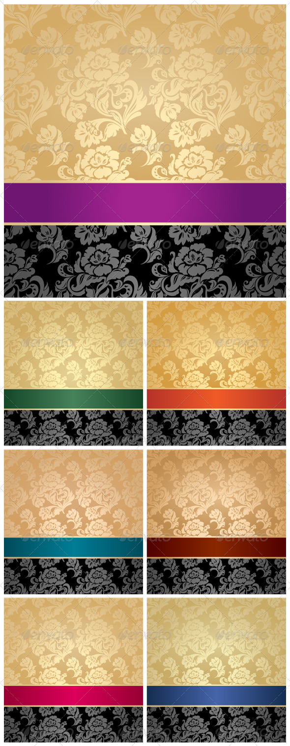 GraphicRiver Floral Decorative Background with Colored Ribbons 7582869
