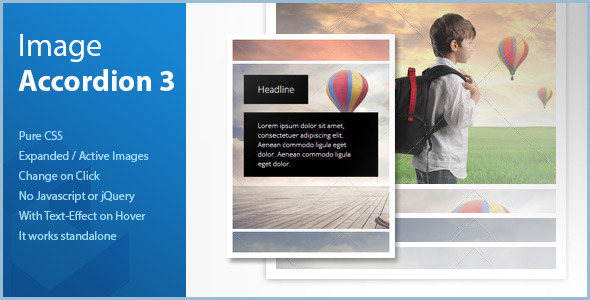 CodeCanyon Pure CSS Vertical Image Accordion Expanded on Cl 7582887