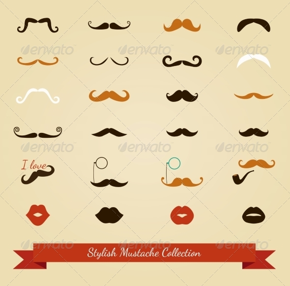 GraphicRiver Colorful Mustache Icon Set 7584306
