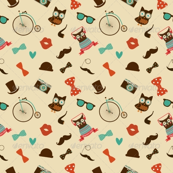 GraphicRiver Hipster Colorful Seamless Pattern 7584357