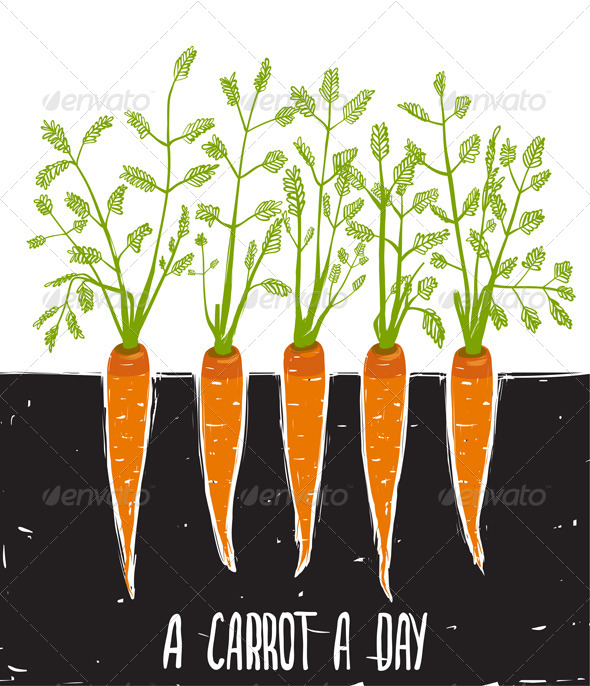 GraphicRiver Growing Carrots Scratchy Drawing and Lettering 7584388