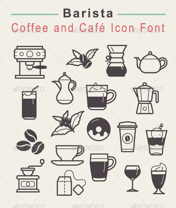 GraphicRiver Barista Coffee and Cafe Icon Font 7584436