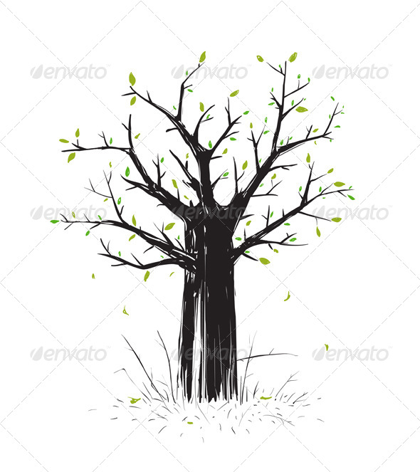 GraphicRiver Scratchy Scribble Tree in Black Silhouette 7584441
