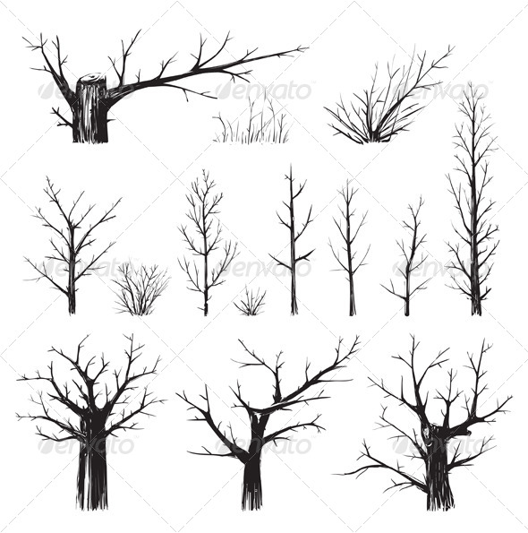 GraphicRiver Scratchy Trees Collection in Black Silhouettes 7584446