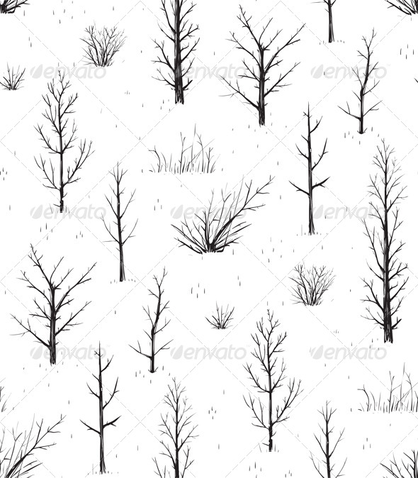 GraphicRiver Scratchy Trees Black Silhouettes Seamless Pattern 7584450