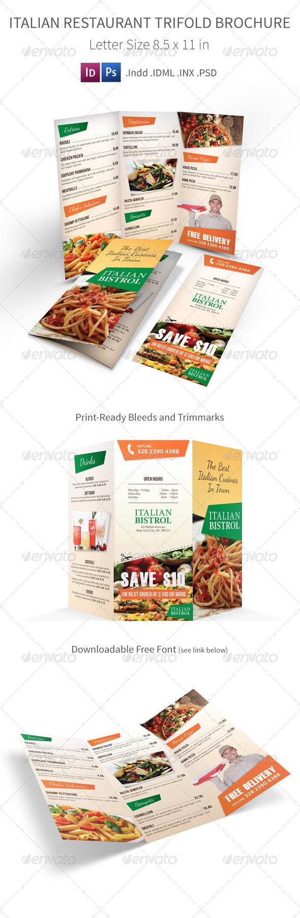 GraphicRiver Italian Restaurant Trifold Menu 7584993
