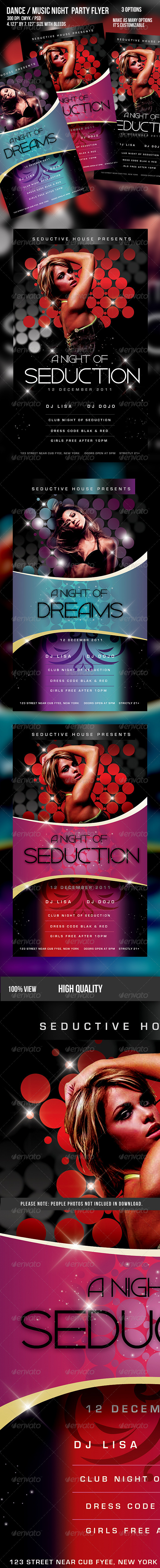 Music/Dance Night Seduction Party Flyer - Clubs & Parties Events