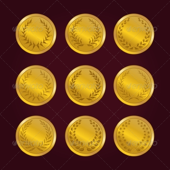 GraphicRiver Luxury Gold Labels with Laurel Wreath 7585140