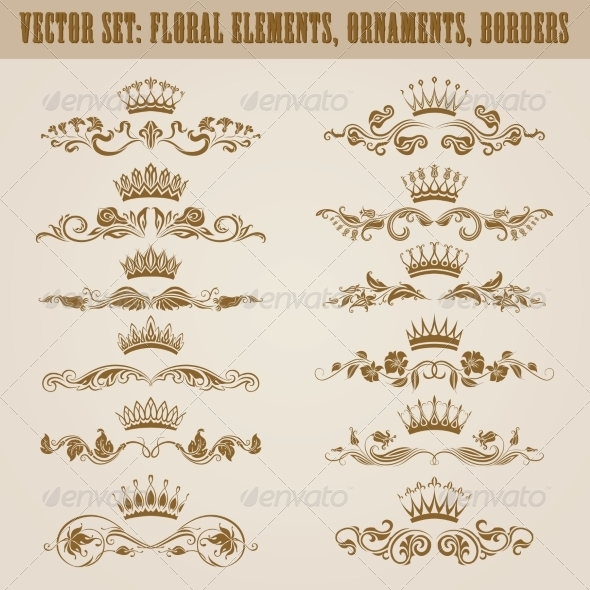 GraphicRiver Set of Damask Ornaments 7585145