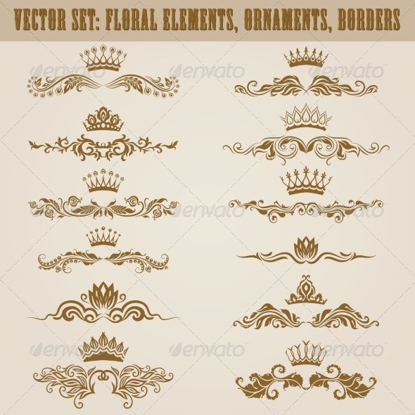 GraphicRiver Set of Damask Ornaments 7585147