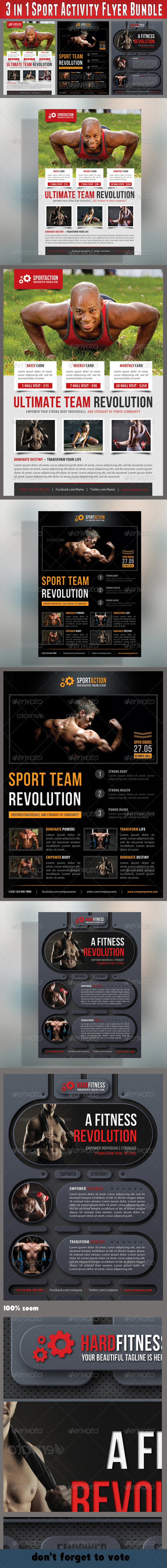 GraphicRiver 3 in 1 Sport Activity Flyer Bundle 07 7585690