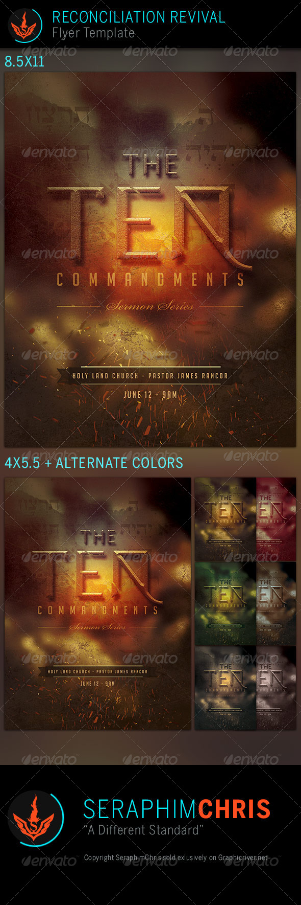GraphicRiver The 10 Commandments Series Church Flyer Template 7586151