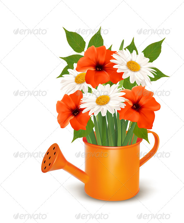 GraphicRiver Summer Flowers in a Watering Can 7586468