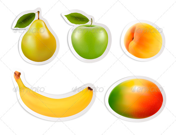 Set of Flat Fruit Stickers