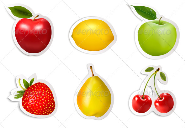 GraphicRiver Set of Flat Fruit Stickers 7586481