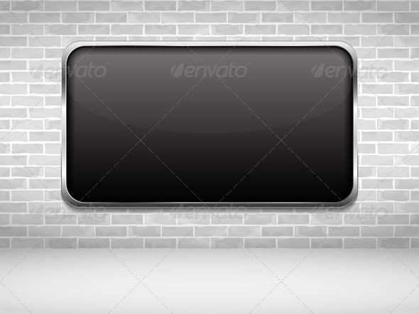GraphicRiver Black Frame On Brick Wall 7587940