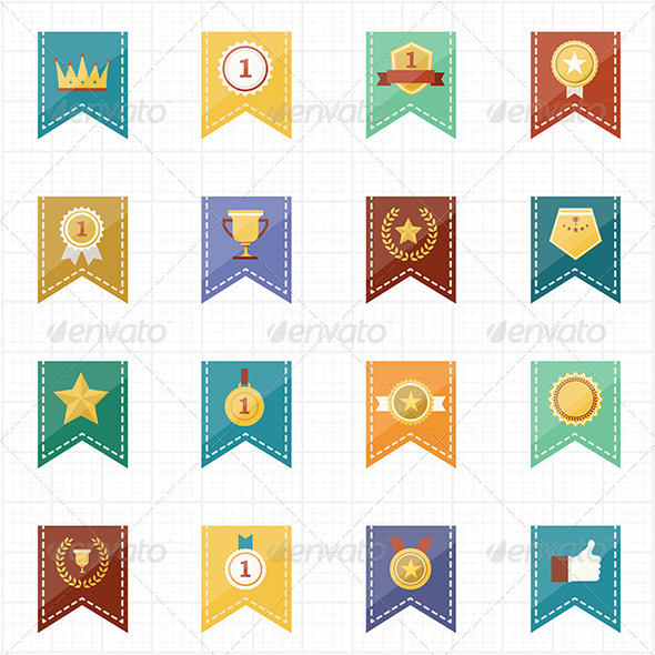 GraphicRiver Badge Seal and Ribbon Icons 7588482