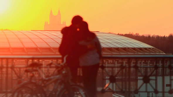 Young Couple At Sunset In the City
