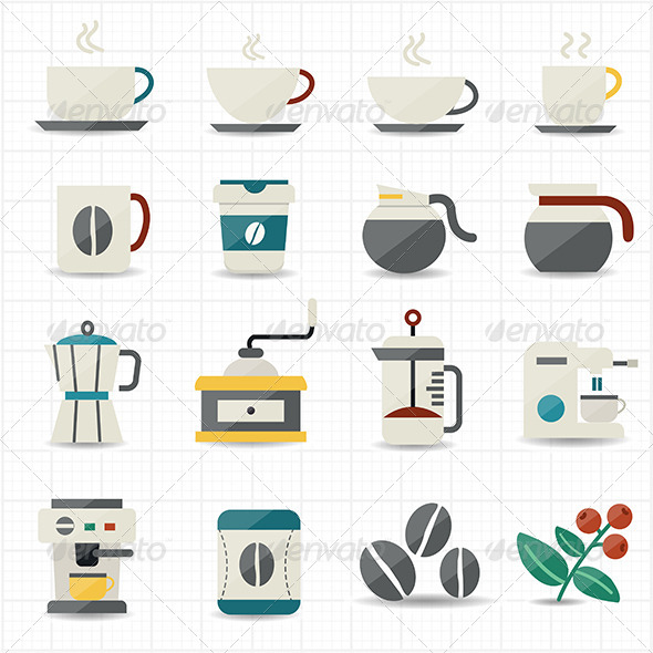 GraphicRiver Coffee Icons and White Background 7588490