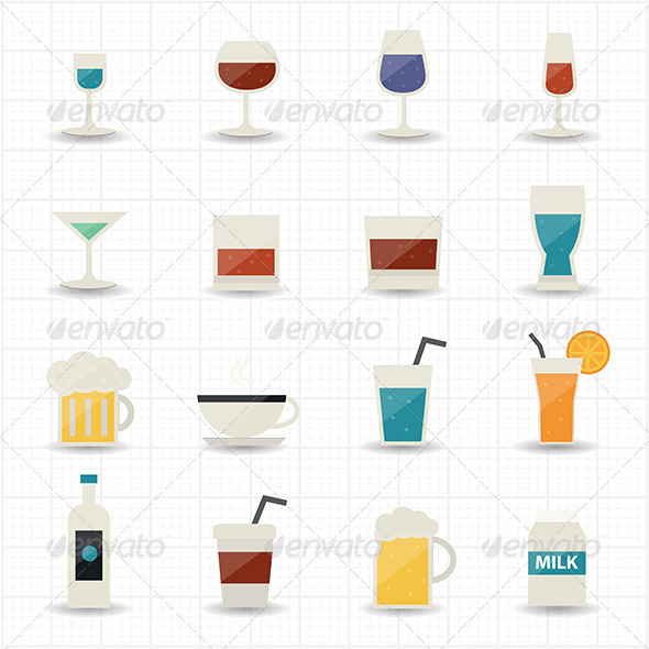 GraphicRiver Drink and Cocktail Icons 7588518