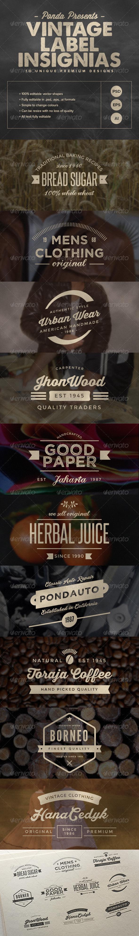 GraphicRiver Vintage Label Insignias 7576699