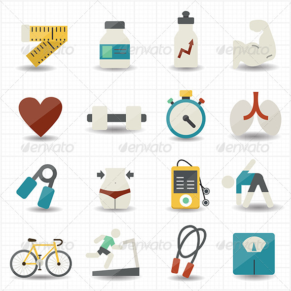 GraphicRiver Fitness and Health Care Icons 7588528