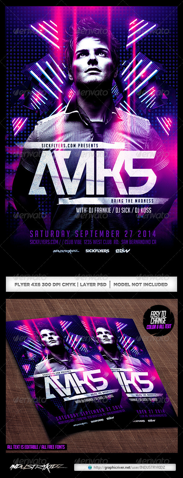 GraphicRiver Electro Dance Music Concert Flyer Template 7588828