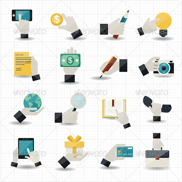 GraphicRiver Hand Touching Business Icons 7588846