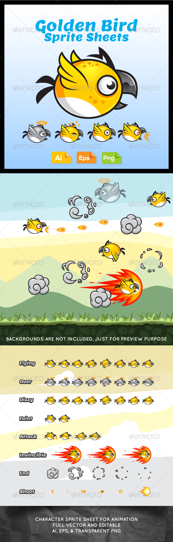 GraphicRiver Game Character Golden Bird Sprite Sheets 7588921