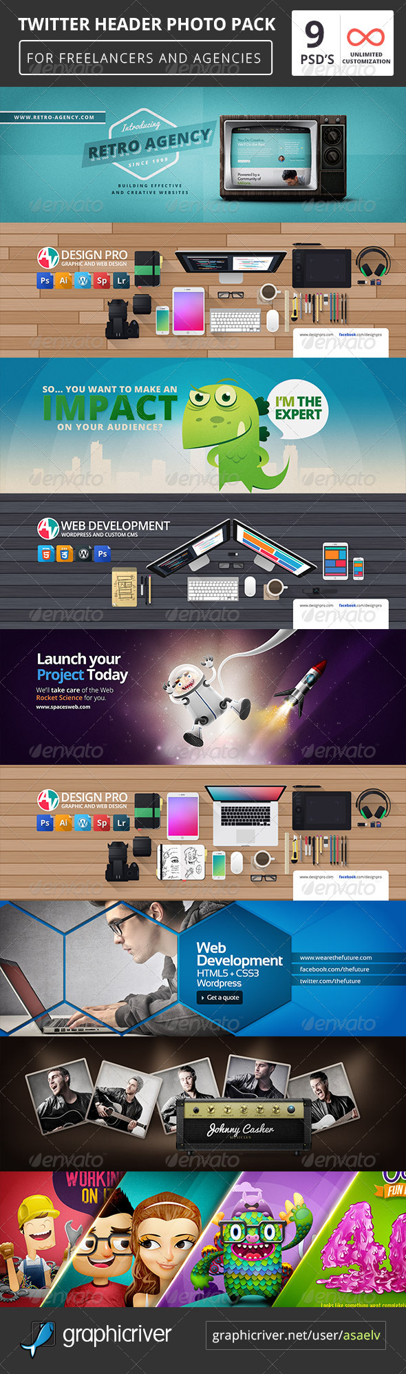 GraphicRiver 9 Twitter Header Covers Pack 7589581