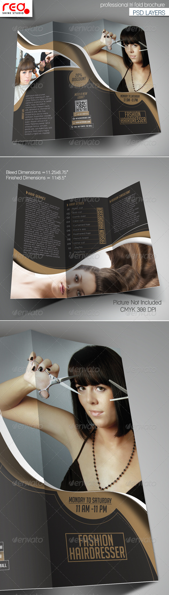 Fashion Hairdresser Tri-fold Brochure Template - Catalogs Brochures