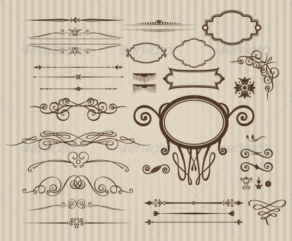GraphicRiver Set of Vintage Calligraphic Elements 7568998