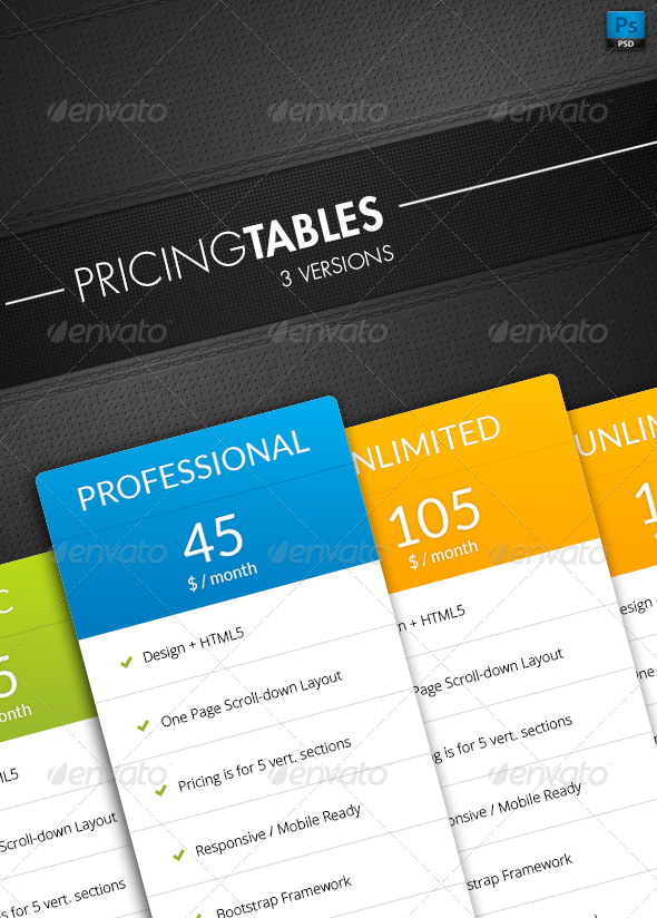 GraphicRiver Pricing Tables 7590875