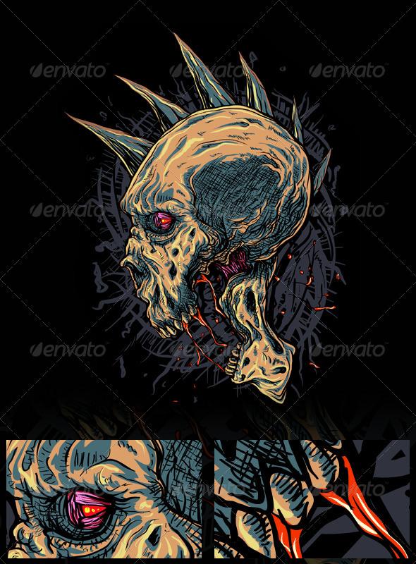 GraphicRiver Mohawk Skull 7590877
