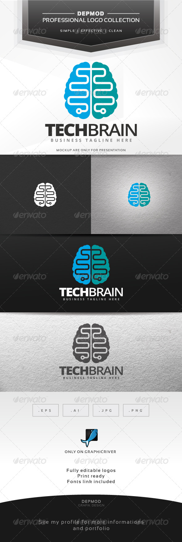 GraphicRiver Tech Brain Logo 7591529