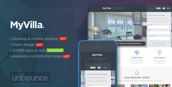 MyVilla - Real Estate Unbounce Template - Unbounce Landing Pages Marketing
