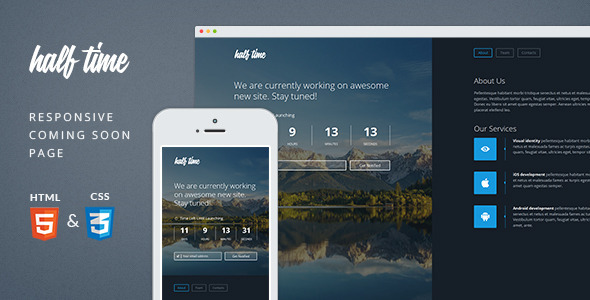 ThemeForest HalfTime Responsive Coming Soon Template 7289708