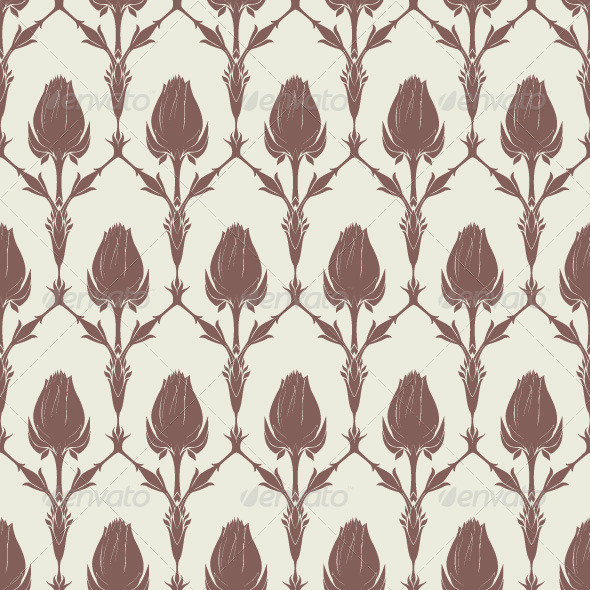 GraphicRiver Seamless Floral Pattern with Tulips 7591810