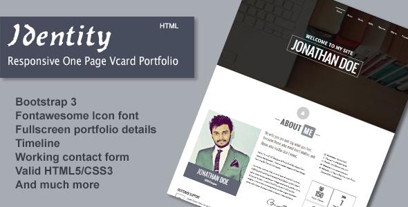 ThemeForest Identity Responsive One Page Vcard Portfolio 7568626
