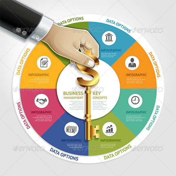 GraphicRiver Business Infographic Hand with Key Symbol 7591917
