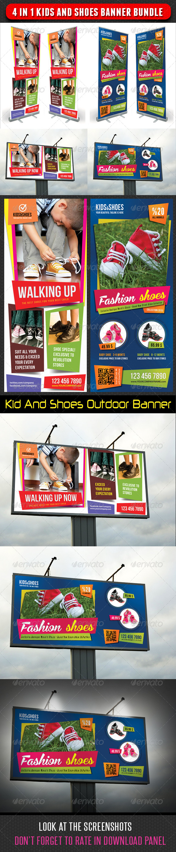4 in 1 Kids And Shoes Banner Bundle