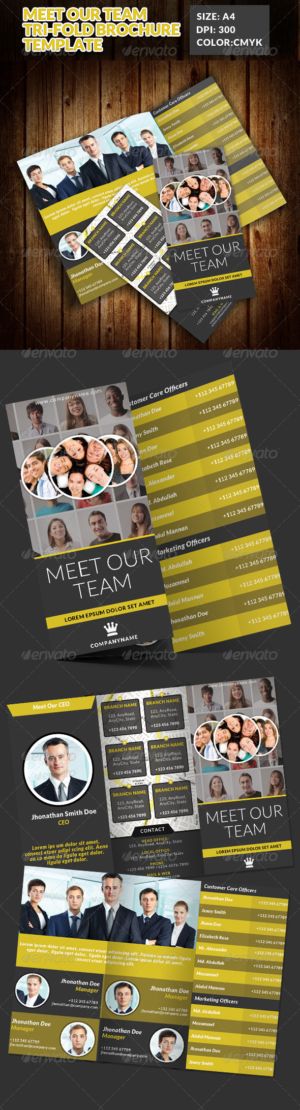 GraphicRiver Meet Our Team Tri-Fold Brochures 7592598