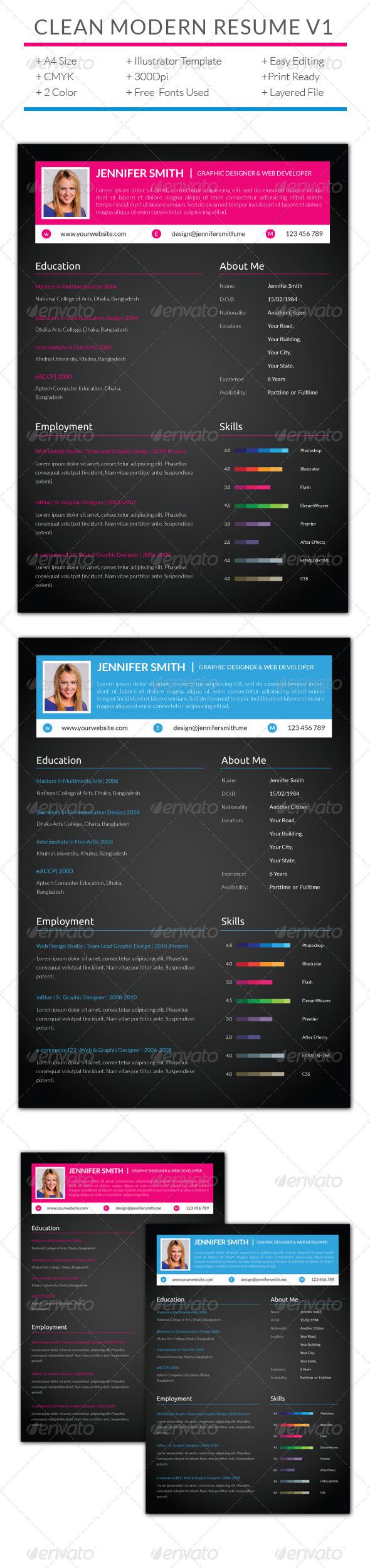 GraphicRiver Clean Modern Resume V1 7592599