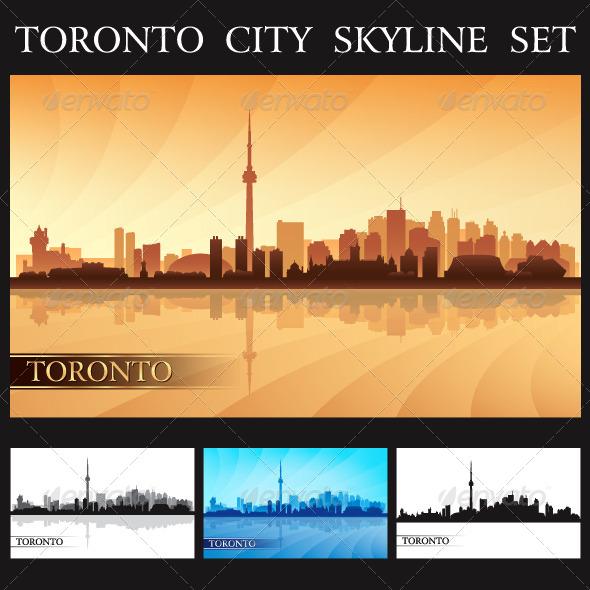 GraphicRiver Toronto City Skyline Silhouettes Set 7593097