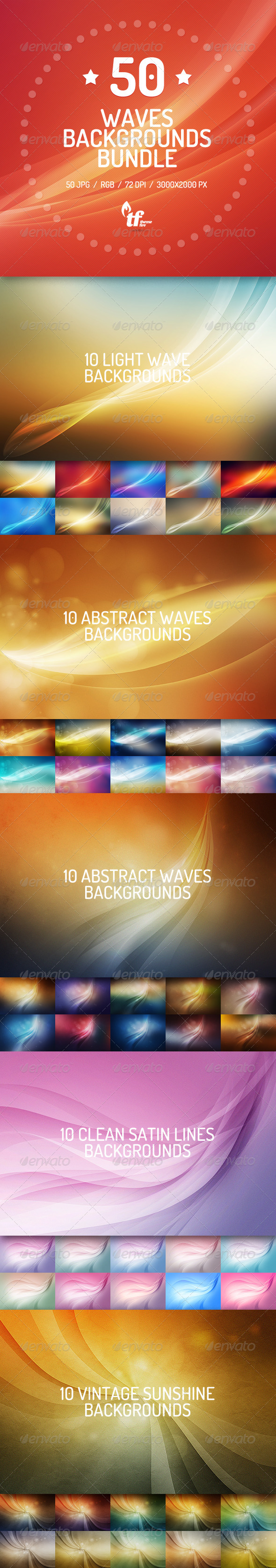 GraphicRiver 50 Abstract Waves Backgrounds Bundle 7593387