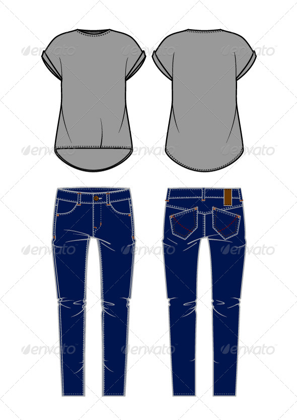 GraphicRiver Women s Jeans and Shirt 7593408