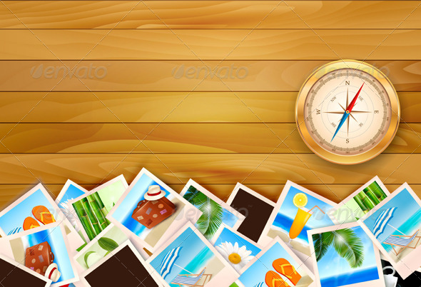 Travel Photos And Compass On Wood Background Graphicriver
