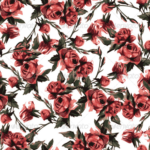 GraphicRiver Seamless Floral Pattern with Pink Roses 7593665