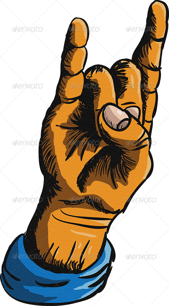 GraphicRiver Rock and Metal Hand Sign 7593725