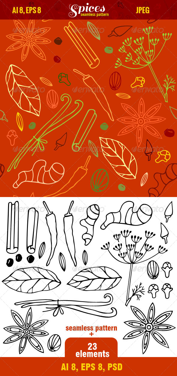 Seamless Pattern of Spices